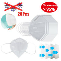 20 Pieces Adults Breathable Mouth Cover Protective Face Mask Elastic Earloop