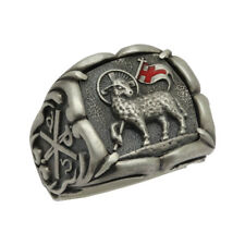 Lamb of God Sterling Silver 925 Knight Templar Men Chi Rho Ring US sizes