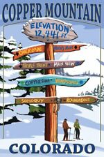 Copper Mountain, Colorado - Ski Destinations Sign (12x18 Art Print, Wall Decor