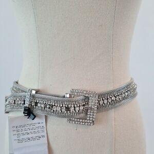 Zara Silver Diamanté Belt Size L/14 AUS - Sale For Charity