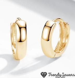 18ct Gold Plated 925 Silver Cartilage Smooth Huggie Clicker Stud Hoop Earrings