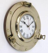 "NAUTICAL NAVIGATION MARINE Brass SHIP PORTHOLE Battery Quartz WALL CLOCK 11"" New"