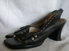 JOHN FLUEVOG HI CHOICE MEGHAN 8.5 Black HEART HEEL SLINGBACK SANDALS PUMPS SHOES