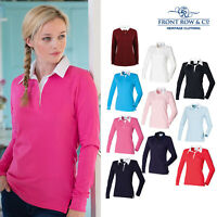 Front Row Women's Long Sleeve Plain Rugby Shirt (FR101) - Feminine Fit Cotton
