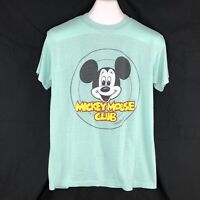 Vintage Mens L Green Mickey Mouse Club Single Stitch T Shirt Tee 3D Graphic