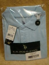 US POLO ASSN Boys School Uniform Light Blue Polo Shirt Size 18 NEW