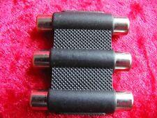 Triple 3 Phono RCA Female to 3 Phono RCA Female AV Extender Coupler Adapter