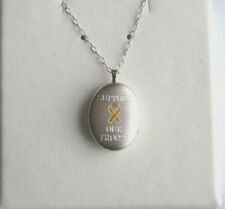 ".925 Sterling Silver ""SUPPORT OUR TROOPS"" Locket w/ 18"" Link Chain, New"
