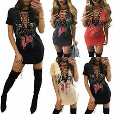 Womens Choker Plunge V Neck Casual Long T-Shirt Lace-up Mini Dress Blouse Tops P