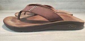 Chaco Mens Size 10M Thong Sandals Brown Slides Flip Flops Slippers Shoes Leather