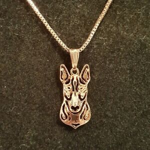 "ENGLISH BULL TERRIER DOG PENDANT WITH 18"" ROSE GOLD NECKLACE FREE GIFT BAG"