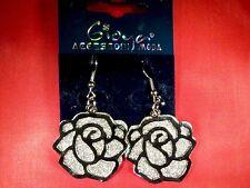 Silver Rose Earrings Fashion Jewellery - - = UK SELLER = - -