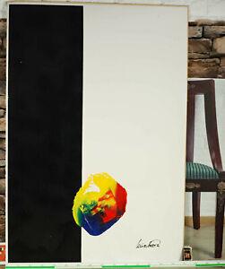 Ralf Wierzbowski * 1964 Gemälde abstrakt 110x75cm Mischtechnik Acryl vintage