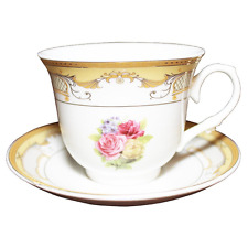 12 Pcs  Gold with  Floral Design  Tea Cup/Saucer Set For 6 Persons