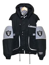 VINTAGE 1995 LA RAIDERS CAMPRI PADDED JACKET RARE 90s WARM HOODED SKI NFL L/XL