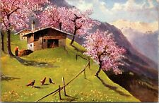 HOUSE ON A HILL - - Chicken Farm Art Vintage postcard - Trees - Flowers  Posted