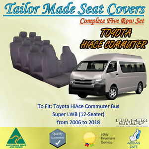 Fabric Seat Covers for Toyota Hiace Commuter Bus (5-Row) 12 Seats: 2006 to 2018
