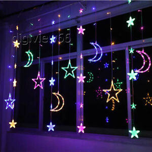 LED Fairy String Window Curtain Lights Twinkling Star Moon Christmas Party Home