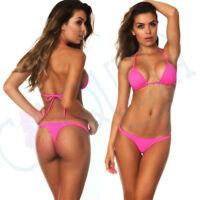 COQUETA Women TEENY SET Hot Pink Colors swimwear bikini itsy THONG BOTTOM + Top
