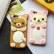 3D Cute Rubber Rilakkuma Relax Bear Soft Back Case Cover For iPhone 7 6s Plus 8