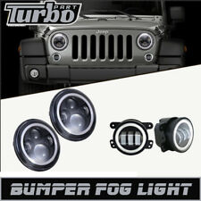 Halo Fog Lights 7 Inch 60W White LED Headlights DRL  For 07-18 Jeep Wrangler