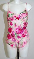 Ladies Pink Rose Floral Strappy Cami & Shorts Pyjama Set. Sizes 8-12.