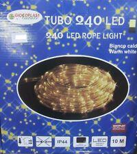 TUBE LUMINEUX 240 LED BLANC CHAUD LUMIÈRES NOËL X EXTÉRIEUR 10MT