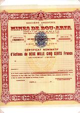 Certificat d'action SA des Mines de Bou-Arfa