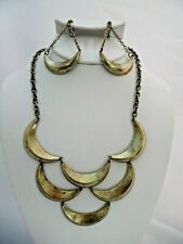 Clip on brass chain half moon necklace and earring set