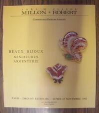 CATALOGUE DE VENTE MILLON ROBERT BIJOUX ARGENTERIE MINIATURES DROUOT 1992