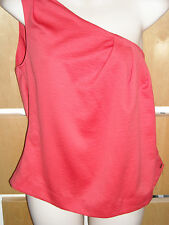 Ladies size 14. Ringspun, red, one shoulder top. Pleat detail. New with tags