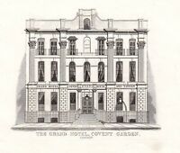 1840 VICTORIAN PRINT ~ THE GRAND HOTEL EVANS ~ COVENT GARDEN LONDON