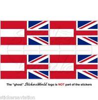 AUSTRIA-UK Flag Austrian-United Kingdom British Union Jack 50mm Sticker-Decal x4