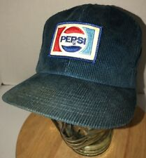 Vintage PEPSI 70s 80s USA Made K-Brand Blue Corduroy Hat Cap Snapback Cola RARE