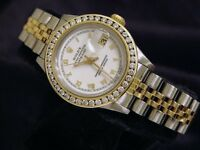 Rolex Date Ladies 18K Yellow Gold & Steel Watch Roman 1.50ct Diamond Bezel 69173