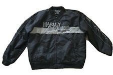 Mens Harley Davidson Nylon Black Grey Bar Shield Jacket RN 103819 XXL 2XL