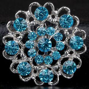Buy 2 get 1 free rhinestone crystal blue bridal bouquet brooch pin wedding