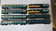 hornby HST and DMU with spare carrage, blue and white livery, all working