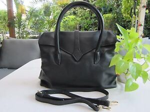 NEW - Ms Cow Leather Handbag / Shoulder Bag - Black