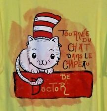 TOURNEE DU CHAT DANS LE CHAPEAU DE DOCTOR T-SHIRT YELLOW 2X SHORT SLEEVES