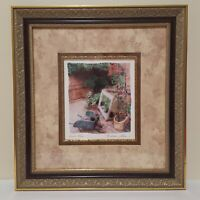 "Maureen Love Print ""Brick Patio"" Art Matted And Framed Glass Front 17"" X 16"""
