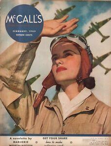 1943 McCalls February - Woman Aviator; Help for chubbies; women wanted war work