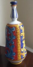 """Majolica ITALY Decanter Vase Bottle w/ Lid 17"""" High. Vietri Pottery Faience"""