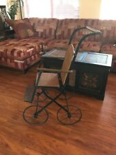 Antique Doll pram Victorian age  stroller wood and metal Wheel Stroller Chair