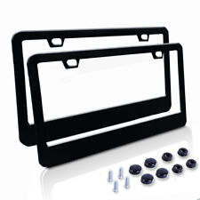 Black License Plate Frames, Stainless Steel Car Licence Plate Covers 2PCS for US