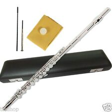 SECILIO SILVER 17 KEY OPEN HOLE C FLUTE Italian Pads B Foot