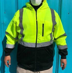 PIP 323-1370B Class 3 Zip Up Hooded Sweatshirt w/ Black Bottom Hi-Vis Yellow 2XL