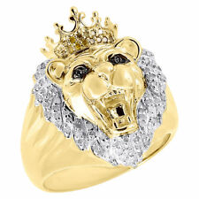 803b5df2c11 10K Yellow Gold Canary Round Diamond Lion Head King Crown Pinky Ring 0.35  Ct.