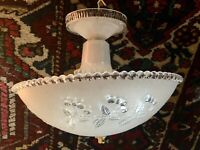 Antique ART DECO GLASS CHANDELIER LIGHT Fully Restored!  15 inch