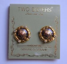 Vintage Two Sisters Genuine Cloisonne Gold Tone Butterfly Clip-On Earrings